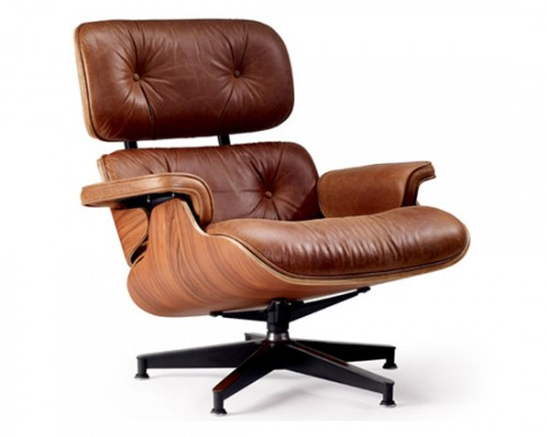 Poltrona Charles Eames Couro Natural Marrom